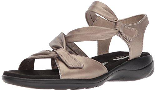 Clarks womens Saylie Moon Sandal, Pewter Metallic Leather, 9.5 US