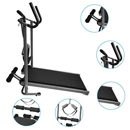Home Mechanical Treadmill Folding Shock-Absorbing No-Electric Walking Machine Non-Motorized 2 Armrest Methods Multifunction Fitness Equipment for Home Gym Workout 330 LB【US in Stock】