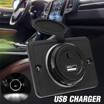 C-FUNN 12/24 V 5 V 1,5 A USB-oplader op schakelaar vermogensweergave boot auto mobiele telefoon Wit.