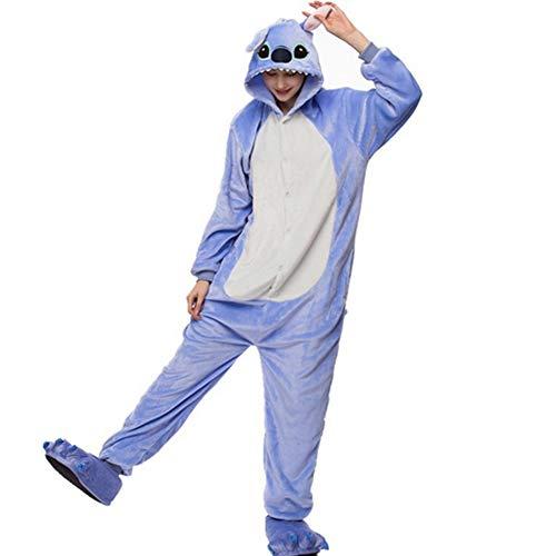 Unisex Cálido Pijamas para Adultos Cosplay Animales de Vestuario Ropa de Dormir (S-para Altura:150-158cm, Blue Stich)