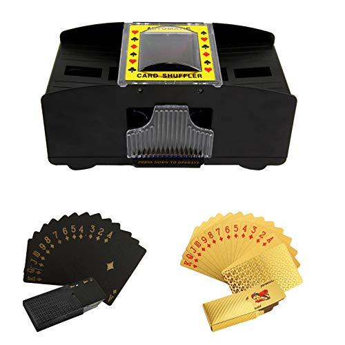 Automatischer Spielkarten-Shuffler mit Spielkarten, batteriebetriebener elektronischer 2-Deck-Shuffler Automatischer Poker-Karten-Shuffler, tragbar für den Home Party Club Kartenmischer &Spielkarten