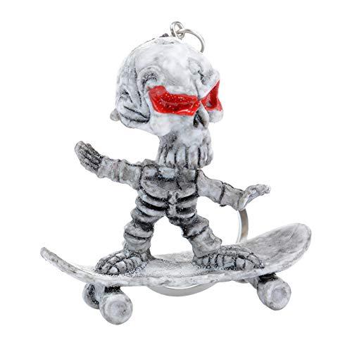 ERDING Sleutelhanger, Sleutelhangers, Skateboard Schedel Rubber Sleutelhanger Skeleton Grappige Kettingzak Auto Sleutelhouder Sleutelhanger