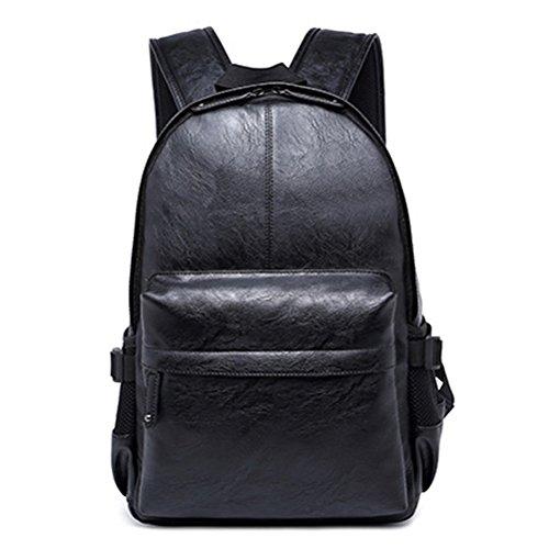 Casual in pelle vintage di Zaino Scuola, FEWOFJ Università Alunno Zaino viaggio zaino per tablet, per uomo nero