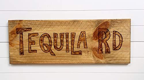 Targa in legno non marchiata Tequila RD Country Rustico Legno Decor Tequila Wall Decor Segnale a legna Bar Rec Room Man Cave Game Room Decor