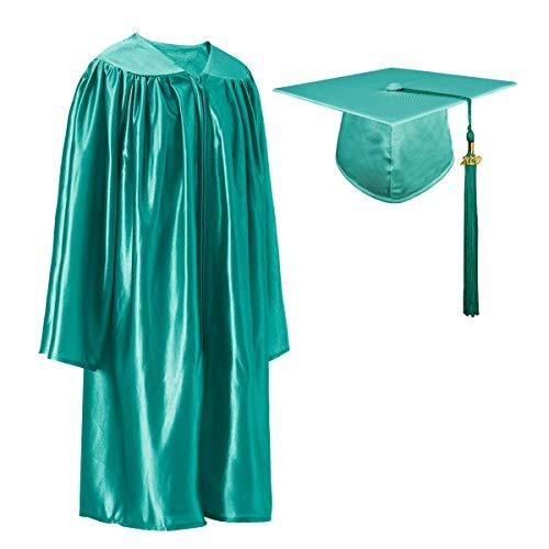 GraduatePro Shiny Kindergarten Prek Graduation Cap and Gown Tassel Set with 2020 Year Charm Emerald Green 36(4'3'-4'5')