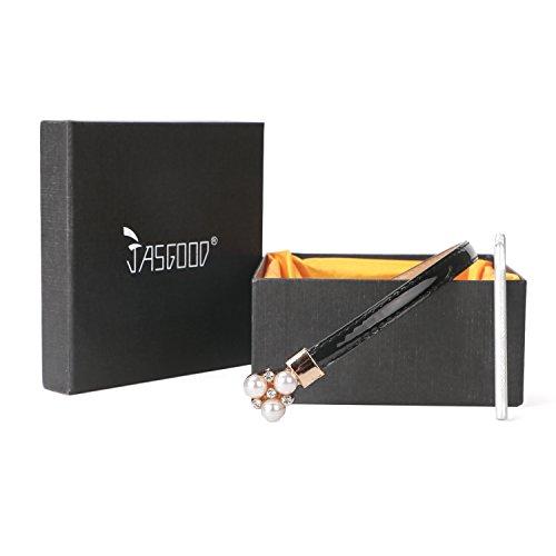 レディース スカートベルト エナメル ウエストマーク スライドベルト パール パーティ ウェディング 結婚式 ドレス ワンピース コーデ サイズ調整可能 ジャスグッド JASGOOD-ブラック