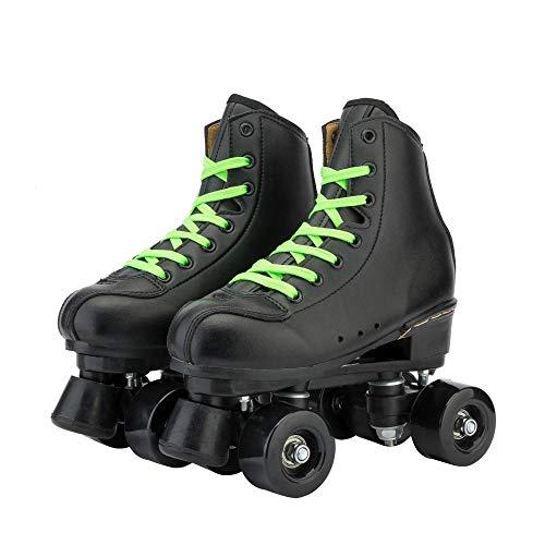 WALLHANG Quad Rollschuhe Roller Skate,Damen Zweireihige Eisschnelllauf,Mit Bremsen,Geeignet für Anfänger,Eisbahn gewidmet/schwarz/Schwarze Räder/41