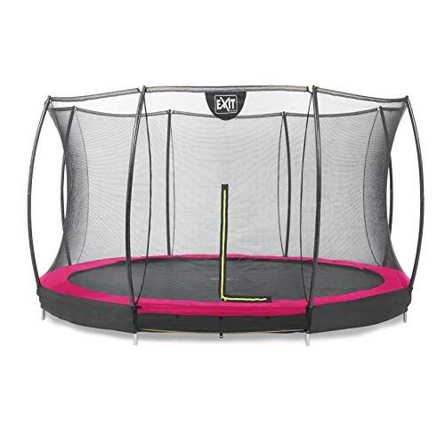 EXIT Silhouette Bodentrampolin ø366cm mit Sicherheitsnetz - rosa