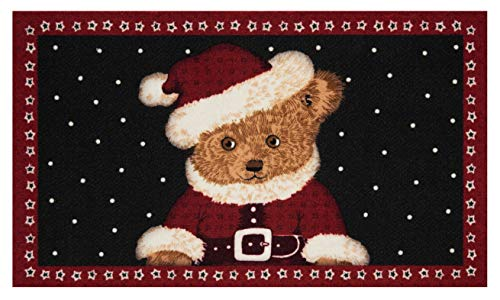 Hanse Home Fußmatte Schmutzfangmatte Christmas Teddybear Rot Schwarz, 45x75cm