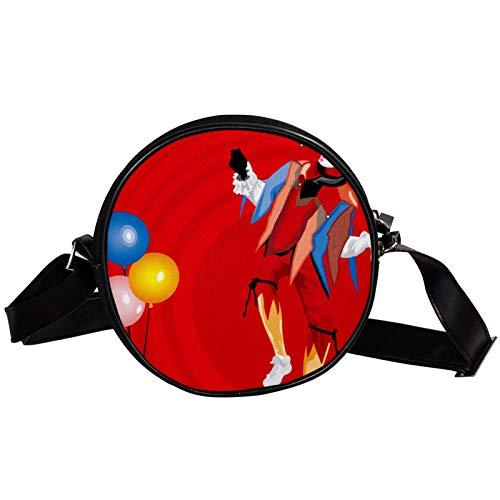 Runde Crossbody Tasche Kleine Handtasche Damen Mode Schultertaschen Messenger Bag Canvas Tasche Hüfttasche Zubehör für Frauen - Clown mit Luftballons