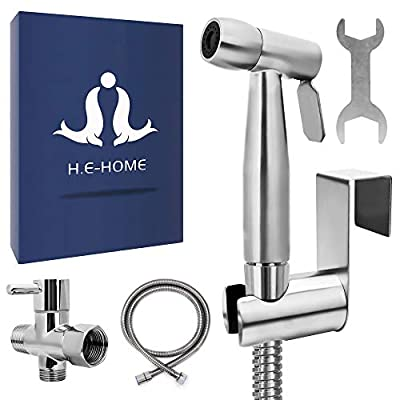 H.E-Home Bidet Sprayer - Handheld Bathroom Sprayer with Leak Proof Hose and Spray Attachment - Personal Hygiene, Feminine Wash, Baby Cloth and Diaper Cleaning - Luxe Modern Easy to Mount Washing Kit