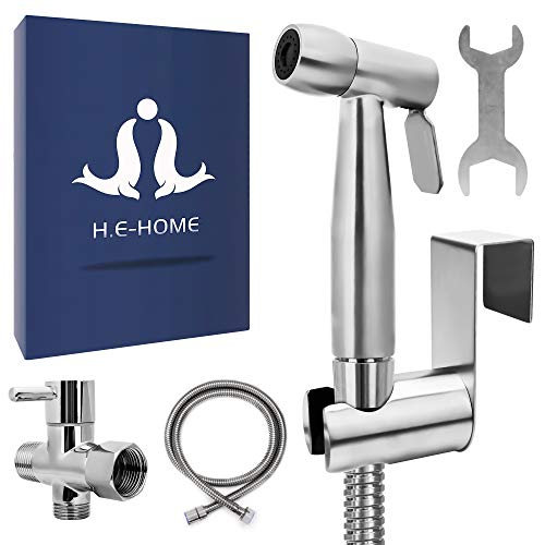 H.E Home Bidet Sprayer for Toilet a Perfect Cloth Diaper Sprayer Easy to Install and Leak Proof Hose with Complete Jet Spray Kit. High Pressure Toilet Sprayer