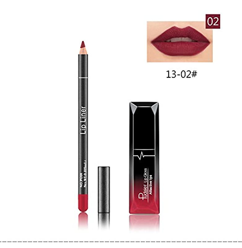 (02) Pudaier 1pc Matte Liquid Lipstick Cosmetic Lip Kit+ 1 Pc Nude Lip Liner Pencil MakeUp Set Waterproof Long Lasting Lipstick Gfit