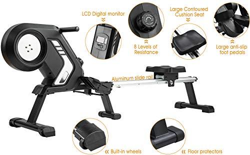 Merax magnetisches Rudergerät mit 8 einstellbaren Stufen, LCD-Monitor, 150 kg Maximalgewicht, Cardio-Fitnessgerät für den Heimgebrauch, faltbar - 6