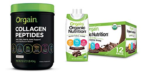 Orgain Grass Fed Hydrolyzed Collagen Peptides Protein Powder & Organic Nutritional Shake, Creamy Chocolate Fudge - Meal Replacement, 16g Protein, 21 Vitamins & Minerals, 11 Ounce, 12 Count