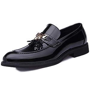 [WEWIN] タッセルローファー メンズ 軽量 エナメル 黒 モカシン スリッポン キルト Uチップ 防滑 通気 運転靴 革靴 オペラシューズ ドライビング ビジネス カジュアル 結婚式 フォーマル 履きやすい 普段用 おしゃれ