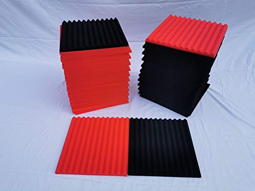 """52 Pack 1"""" x 12"""" x 12"""" Black/red Acoustic Wedge Studio Foam Sound Absorption Wall Panels (BLACK/RED) made in China"""