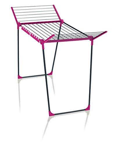 Leifheit Standtrockner Pegasus 180 Solid Pink Color Edition, 18m Trockenlänge für bis zu 2 Wäscheladungen, standfester Wäscheständer mit Flügeln für lange Kleidungsstücke für drinnen und draußen