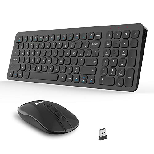 Wireless Keyboard and Mouse Combo, LeadsaiL Compact Full Size Wireless Keyboard and Mouse Set, Less Noise Keys 2.4G Ultra-Thin Sleek Design for Windows, Computer, PC, Notebook, Laptop (Matt Black)