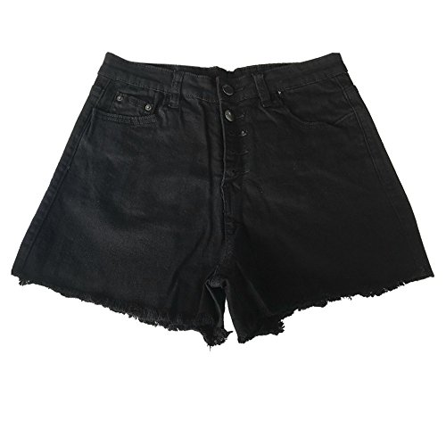 Yanhoo Frauen Loch zerstört zerrissene hohe Taille Jeans Denim Shorts Hot Pants 7 Damen high Waist Slim Stretch Denim Shorts(schwarz,M)