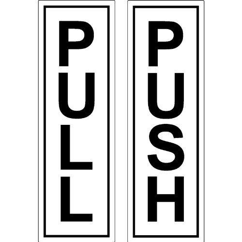 restaurantes Bares ORIGIN Silver Push Pull Set Par de se/ñales gen/éricas para Puertas hoteles cafeter/ías escuelas para Negocios