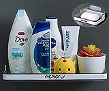 Mensola Doccia, Mensola Bagno Adesivo + Portasapone, Accessori Bagno Senza Trapano, Mensole a Muro Senza Fori,Plastica ABS
