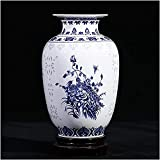 "Jingdezhen Classic Blue and White Porcelain Floral Temple Ginger Jar Vase, China Ming Style,Height 8.6""(22cm)"