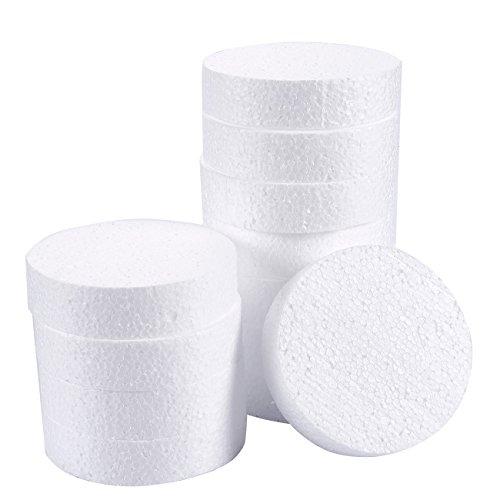 Craft Foam Disc - Pack de 12 círculos de espuma de poliestireno para escultura, modelado, manualidades y manualidades, 10,16 x 10,16 x 2,54 cm