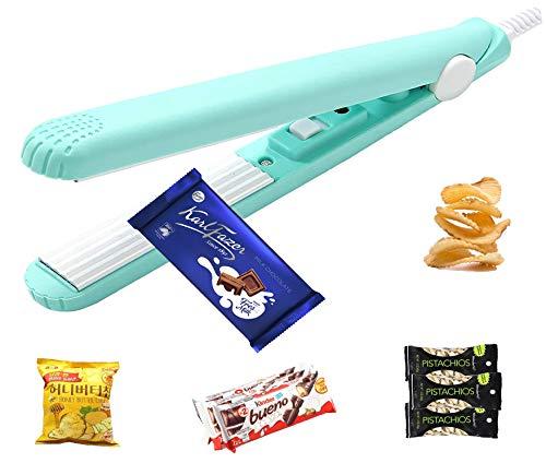 Mini Bag Sealer Heat Seal Handheld, Food Sealer Bag Resealer for Food Storage, Portable Smart Heat Sealer Machine with 43.1 inch Power Cable for Chip Bags, Plastic Bags, Snack Bags (Blue)