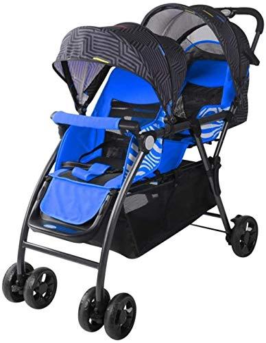 HZYD Poussette Double, Double Tandem Poussette de bébé, 3 Points Ceintures de sécurité, Design Pliable for Easy Transport (Couleur: Bleu) (Couleur: Rouge), Couleur: Rouge ( Color : Blue )