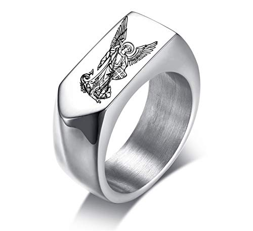 NJ Saint Michael Signet Ring - Stainless Steel St Michael Jewelry The Archangel Saint Michael Band Ring for Men Boys Silver for Anniversary Engagement Birthday Gift