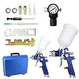 Pistola a Spruzzo Set,HVLP Air Gravity Spray Gun con ugelli 0,8mm 1,4mm,Pistola Verniciatura Professionale Alta Efficienza con Regolatore di Pressione dell'aria per verniciare per Auto