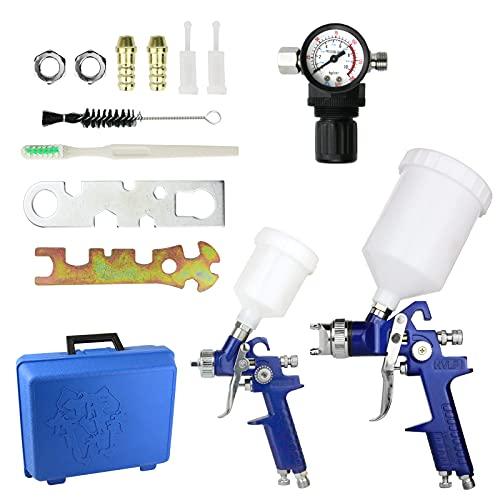 Pistola a Spruzzo Set con ugelli 0,8mm 1,4mm,HVLP Air Gravity Spray Gun,Pistola Verniciatura Professionale Alta Efficienza con Regolatore di Pressione dell'aria per verniciare per Auto