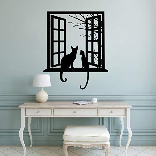 Tianpengyuanshuai muurstickers, vinyl, kat, dier, muurtattoo, kat, op zoek naar het raam, silhouette, wand, afneembaar, decoratie van het huis, zwart, 42 x 51 cm