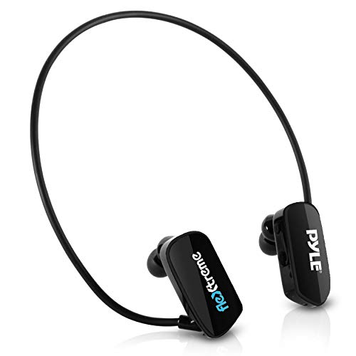 Pyle MP3 Player Bluetooth Headphone - Waterproof Swim IPX8 Flexible Wrap-Around Style Headphones Built-in Rechargeable Battery Bluetooth w/ 8GB Flash Memory & Replacement Earbuds - PSWP28BK Black