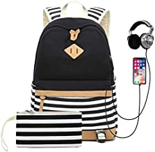 Sqodok Teen Girls Backpack for Middle School, Women College Charging Striped Bookbag with USB Charging Port Pencil Case, Lightweight Cute15.6inch Laptop Bag Travel Daypack