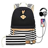 Best Backpacks For Middle Schoolers - Sqodok Charging Backpack, Striped Bookbag for Girls College Review