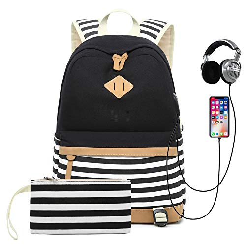 Sqodok Teen Girls Backpack for Middle School, Women College Charging Striped Bookbag with USB Charging Port Pencil Case, Lightweight Cute15.6inch...