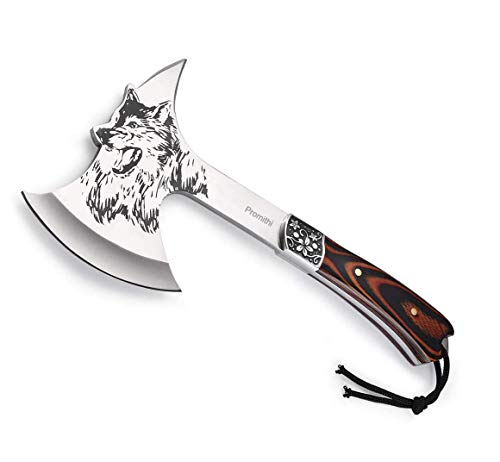 Promithi Camping Hatchet Axe Etched Wolf Head Stainless Steel with Wooden Grip & Nylon Sheath...