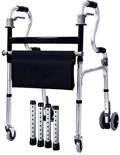 Comfortable Sunlounger,Wheelchair Brake Walker Can Sit Standing Armrest Walking Rehabilitation Training Elderly Disabled Corner Aluminum Folding Pulley 59Cmx49Cmx86Cm Wheelchair