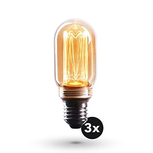 CROWN LED Edison Illusion Filament Glühbirne E27 Fassung, Dimmbar, 3,5W, 1800K, Warmweiß, 230V, EL22, Antike Filament Beleuchtung im Retro Vintage Look