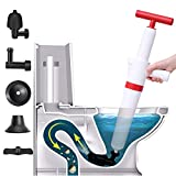 Toilet Plunger,Pneumatic Air Pressure Plunger,Drain Plumb Plunger,Air Blaster Gun Plunger High Pressure with 4 Detachable Assembly Heads For Clogged Toilet Kitchen Bathroom Sewer Tubs
