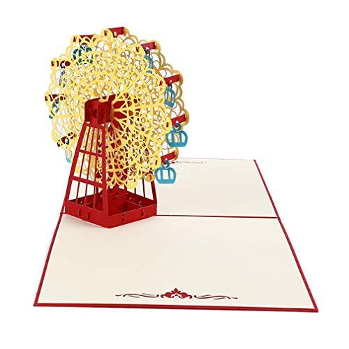 3D Grußkarte Riesenrad Pop Up Karte Geburtstag Karten Dankeskarten Hochzeit Einladung Karten Geburtstag Basteln Papier schönes Geschenk gelb nützlich und praktisch