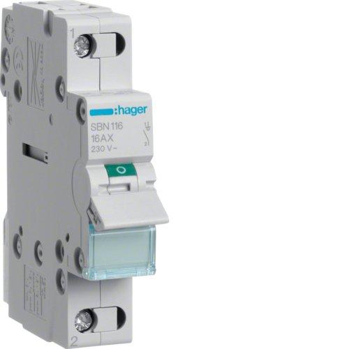 Hager SBN116 1P 1module(s) - Stromunterbrecher (16 A, 17,5 mm, 68 mm, 83 mm, -20-50 °C, -40-80 °C)