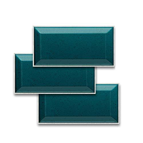JLCP Pegatinas De Baldosas 3D, Turquesa Terraza Pegatinas De Azulejos Impermeable PVC Adhesivo Decorativo De Azulejos para Cocina Y Baño, 20X10cm,27PCS