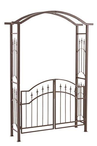 CLP Eisen-Rosenbogen Luxor mit Eingangspforte | Torbogen aus Metall mit stilvollen Verzierungen | Rankhilfe mit Zwei Türen im Landhausstil, Farbe:braun