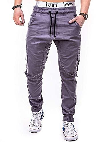 BBTRE Men's Elasticated Waist Sweatpants Casual Multi-Pocket Slim Fit Sports Bodybuilding Workout Running Jogger Trousers (Grey,M,)