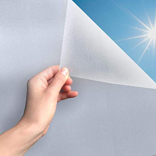 MARAPON ® Fensterfolie selbsthaftend Blickdicht [105x400 cm] inkl. eBook mit Profitipps - Sichtschutzfolie Fenster Anti-UV mit statischer Haftung - Milchglasfolie - Milchfolie
