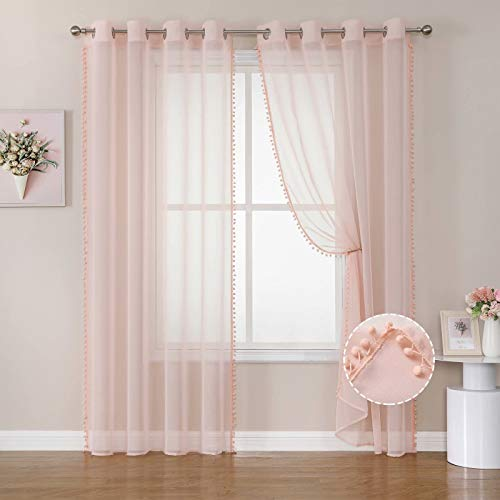 Selectex Linen Look Pom Pom Sheer Curtains - Grommet Semi-Sheer Drapes Tasseled Voile Curtains for Bedroom and Living Room, Blush, 52x63 inches Long, Set of 2 Panels