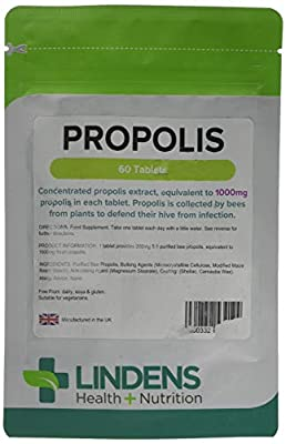 Lindens Propolis 1000mg Tablets   60 Pack   Popular Food Supplement Used Traditionally for Thousands of Years As A Convenient Extract in A One-a-Day Tablet